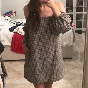 Plaid fall off the shoulder dress with puff sleeve